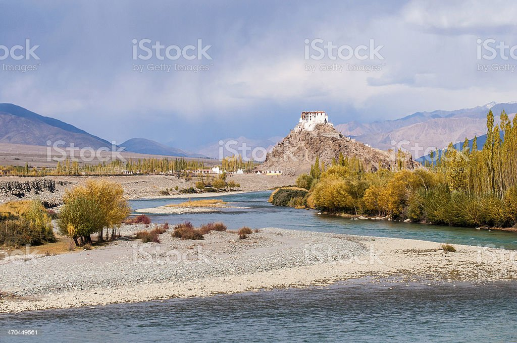 Stakna gompa above Indus river stock photo