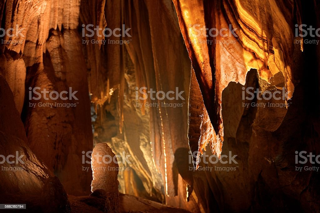 Stalactite in cave stock photo