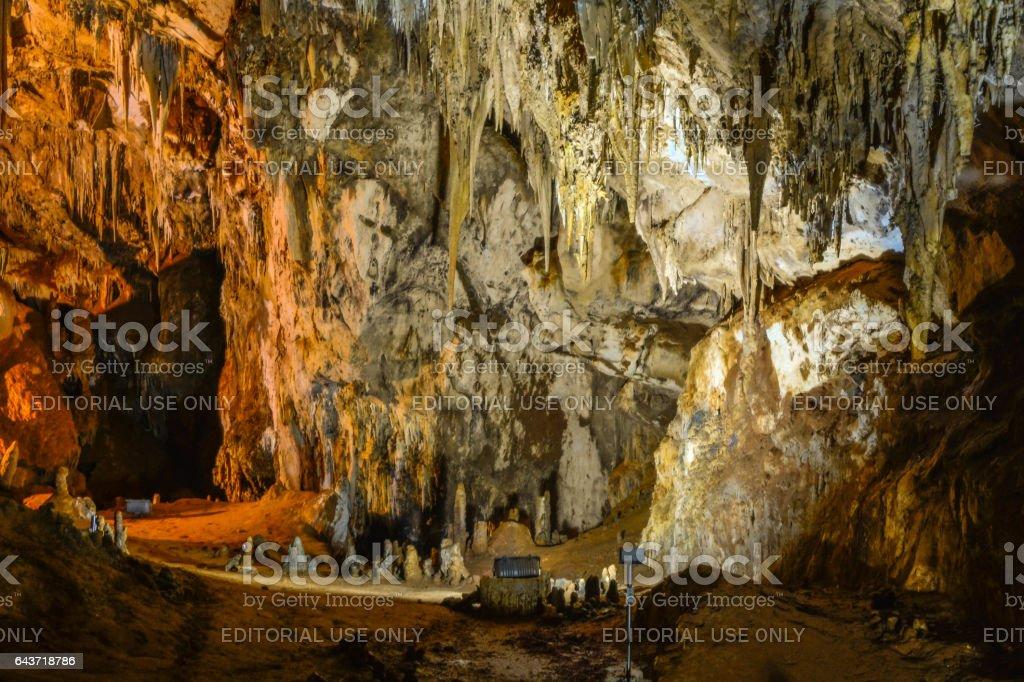 Stalactites and stalagmites stock photo