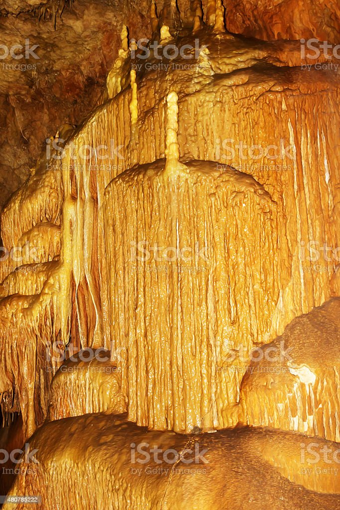 Stalactites in a cave Marble stock photo