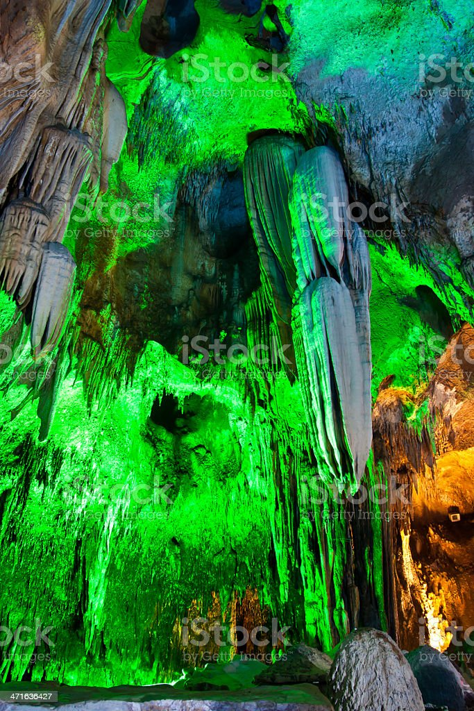Stalactites in the cave royalty-free stock photo