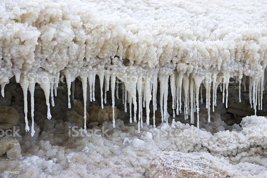 Stalagmites made of salt, rocks and water royalty-free stock photo