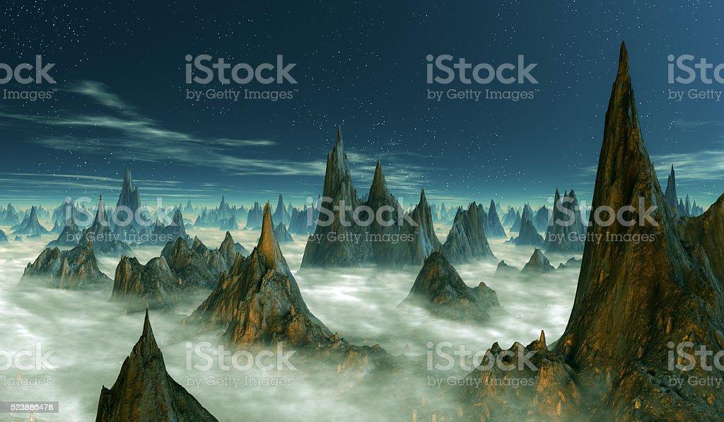 stalagmitic column´s onFantasy planet surface. stock photo