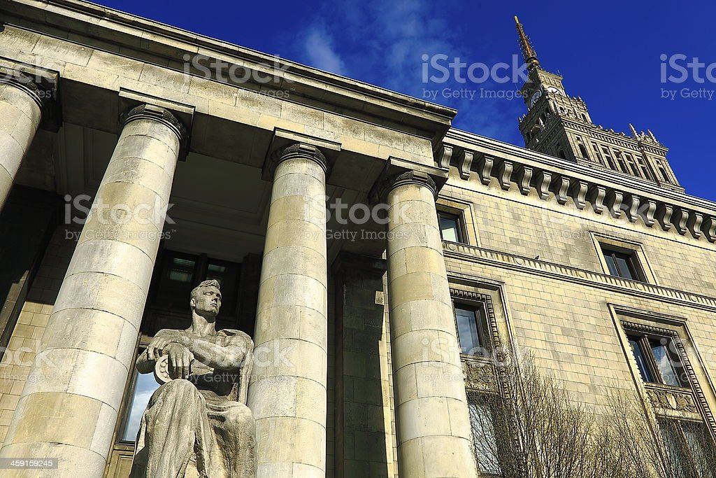 Stalinist Palace of Culture and Science in Warsaw, Poland stock photo