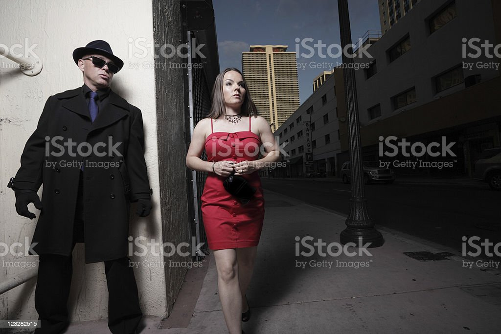 Stalker and the victim royalty-free stock photo