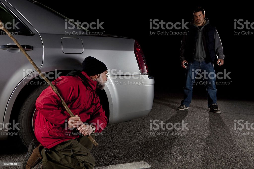 Stalker and victim stock photo