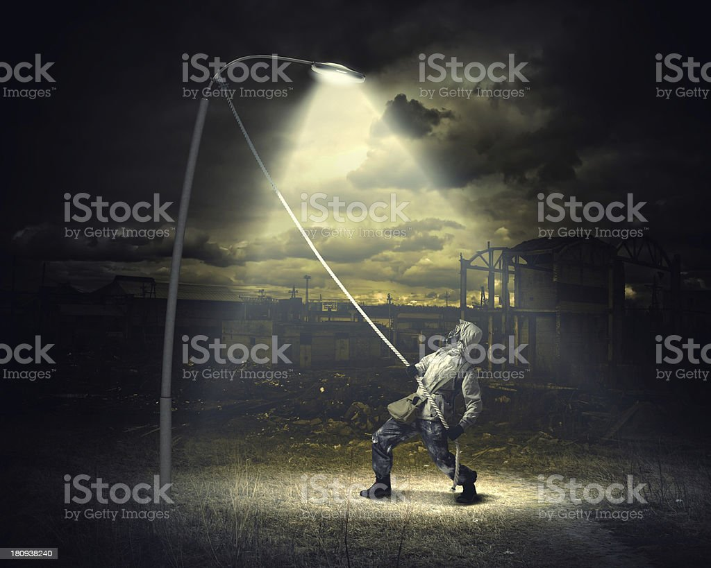 Stalker in gas mask royalty-free stock photo