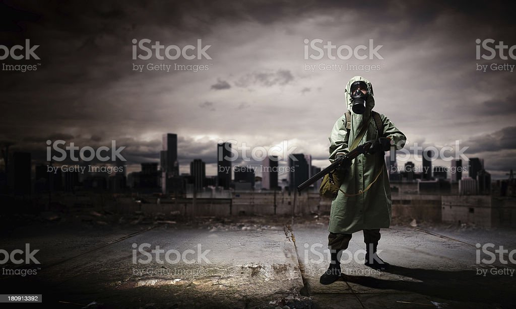Stalker with gun royalty-free stock photo
