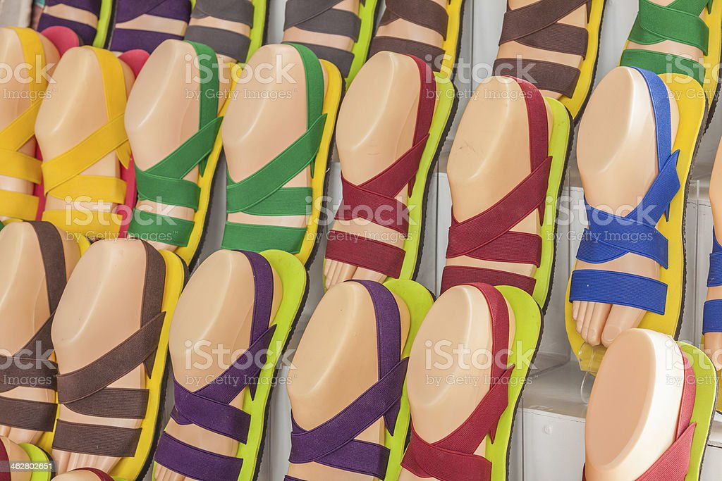 Stall of colourful sandals stock photo