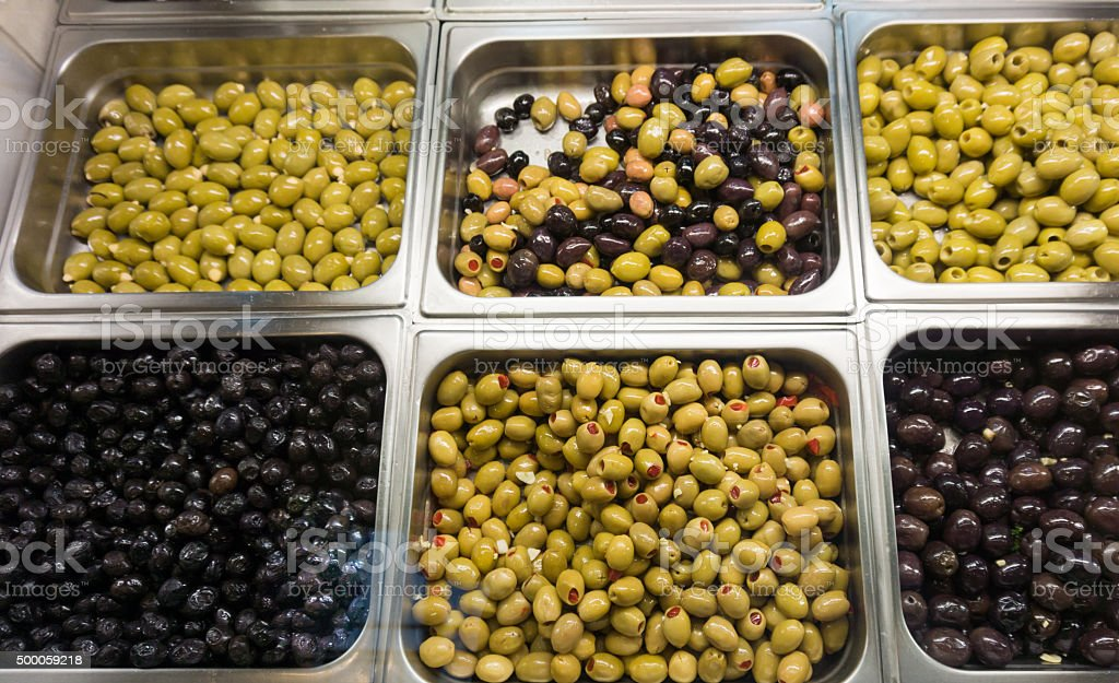 stall of olives at the market. stock photo