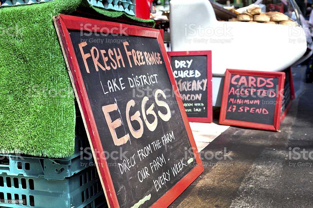 Stall selling eggs stock photo