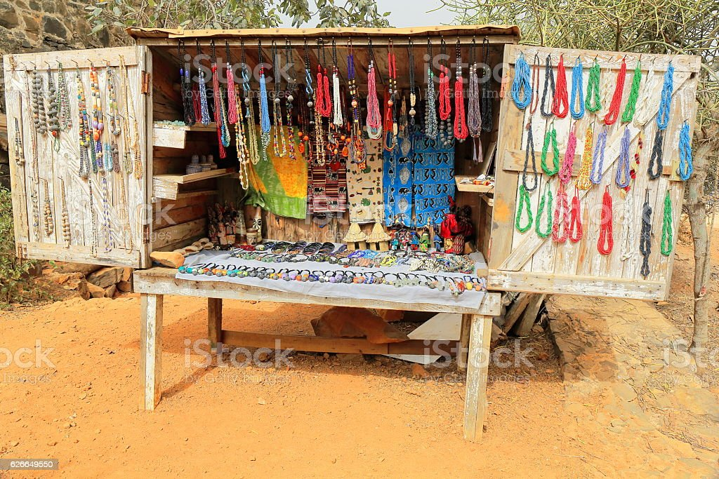 Stall selling necklaces-outskirts of town. Goree island district-Dakar-Senegal. 1803 stock photo