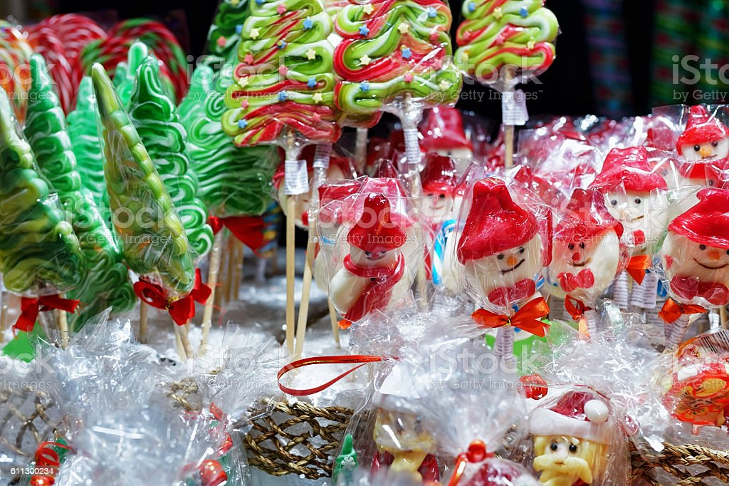 Stall with colorful candies on Christmas Market in Vilnius stock photo