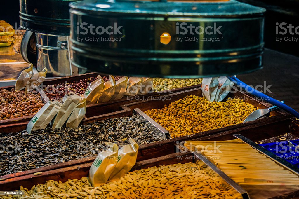 Stall with nuts and seeds on the street stock photo