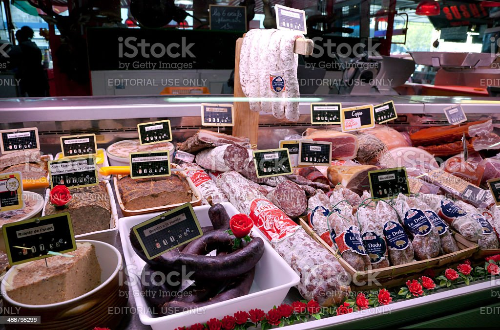 Stall with sausages at farmers market in Bordeaux, France stock photo