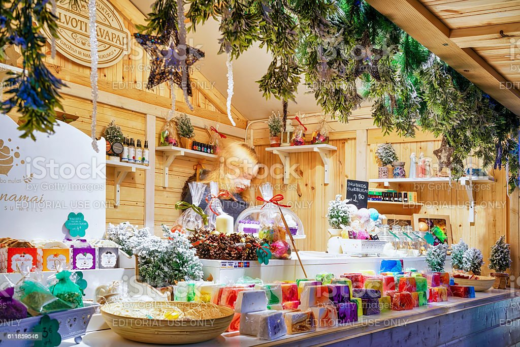 Stall with soap at the Vilnius Christmas Market stock photo