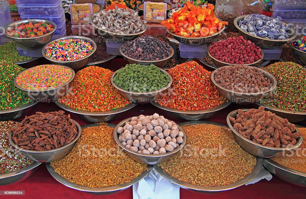 stall with spicery on the street market in Ahmedabad stock photo