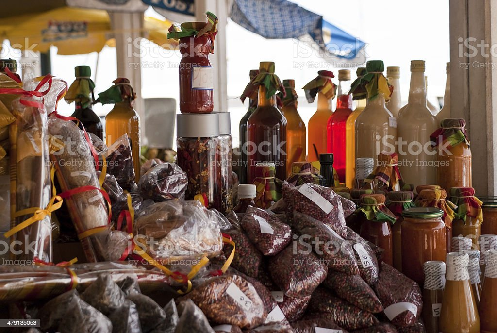 Stall with Spices at the Market in St Martin stock photo