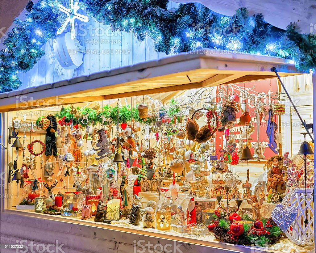 Stall with various souvenirs at Vilnius Christmas Market stock photo
