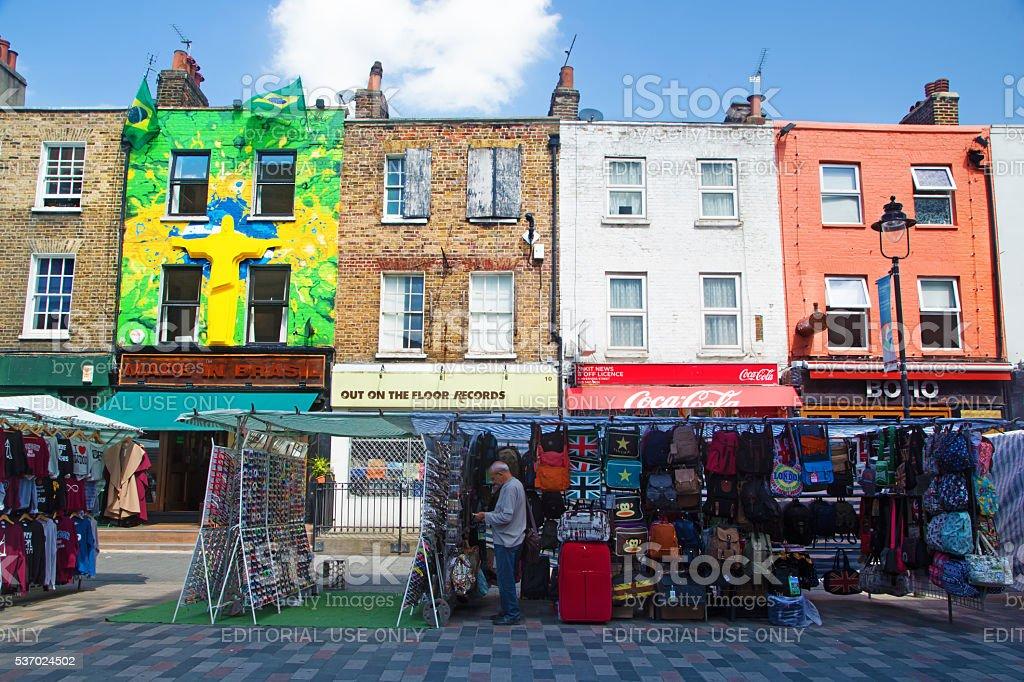 Stalls in Camden Town, London stock photo