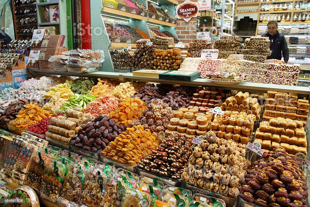 Stalls selling turkish delights in the Spice Bazaar stock photo