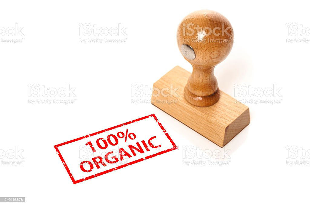 stamp '100% Organic' stock photo