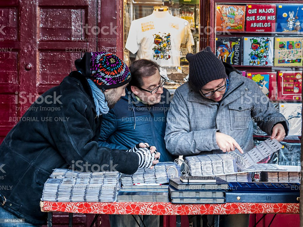 Stamp and coin collectors in Plaza Mayor, Madrid stock photo
