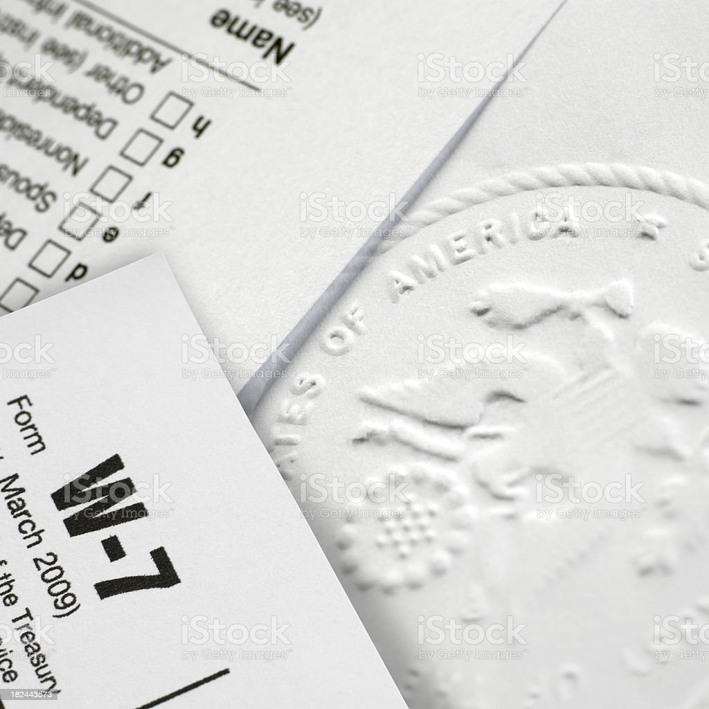 US Stamp and forms royalty-free stock photo