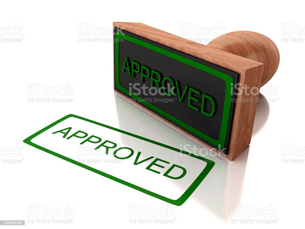3D stamp approved stock photo