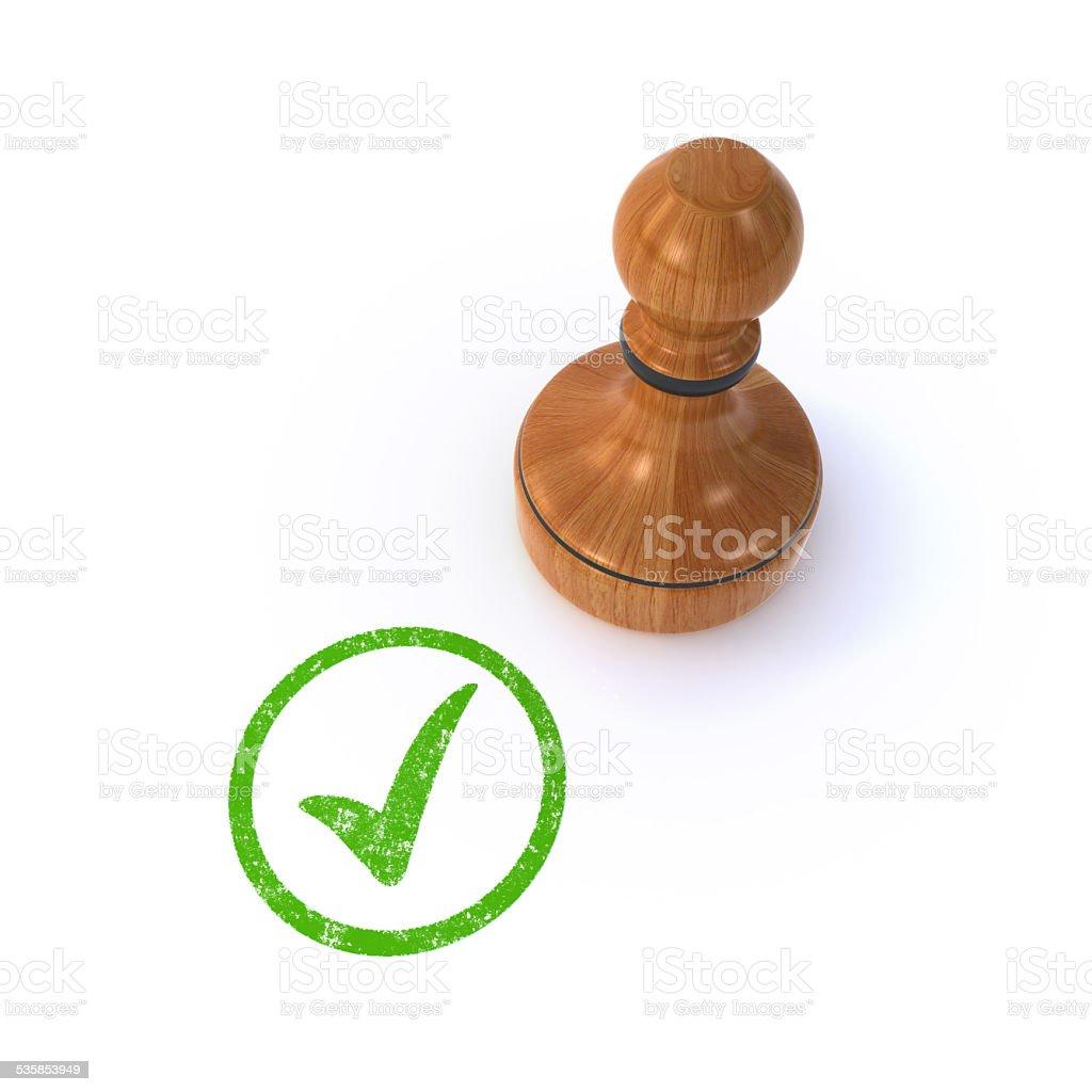stamp checked stock photo