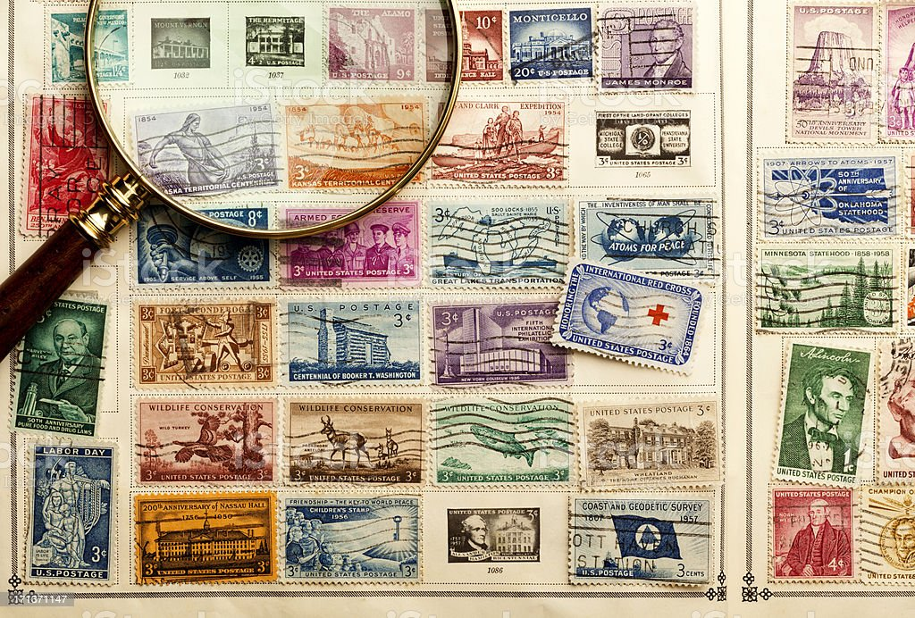 Stamp Collecting. stock photo