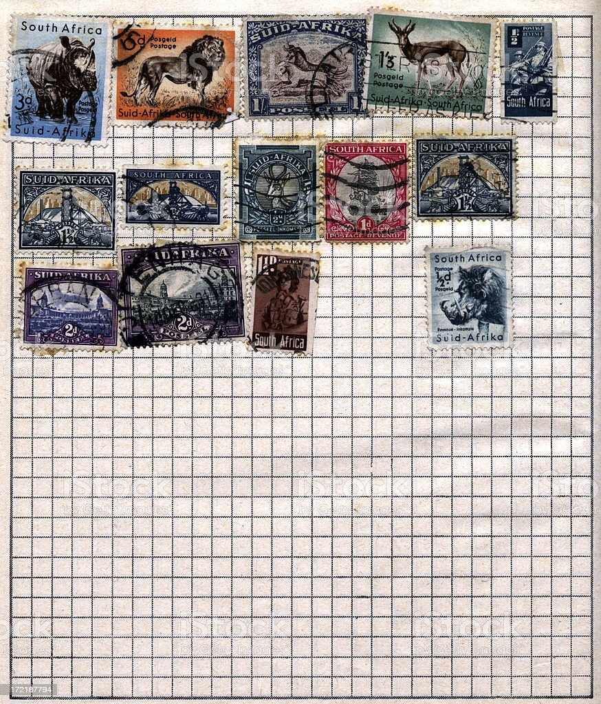 Stamp collection page 8: South Africa stock photo