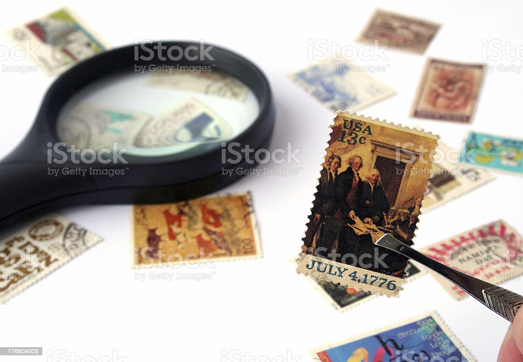 Stamp collection royalty-free stock photo