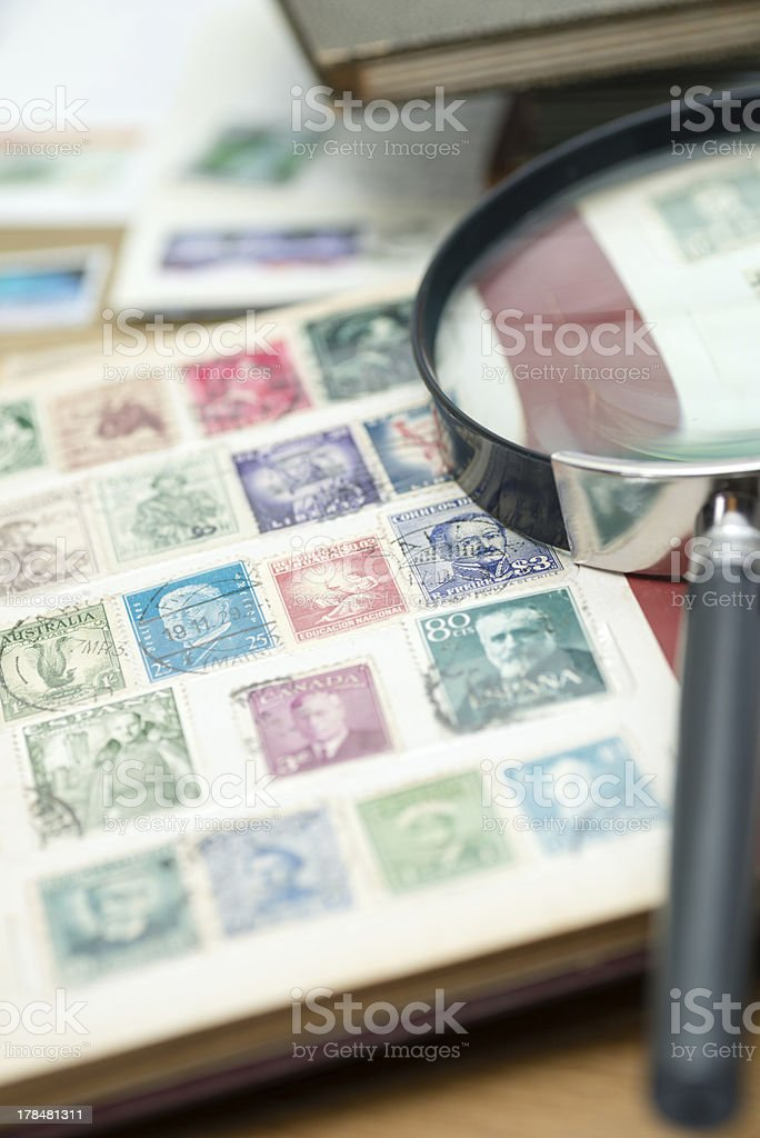 Stamp collection (XXXLarge) stock photo