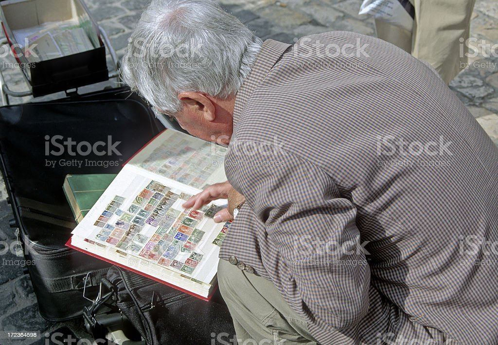 Stamp collector stock photo