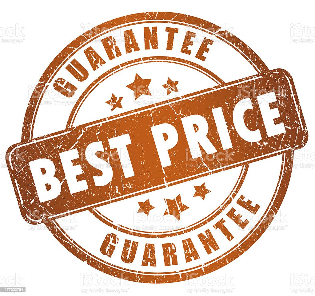 A stamp displaying the words guarantee best price stock photo