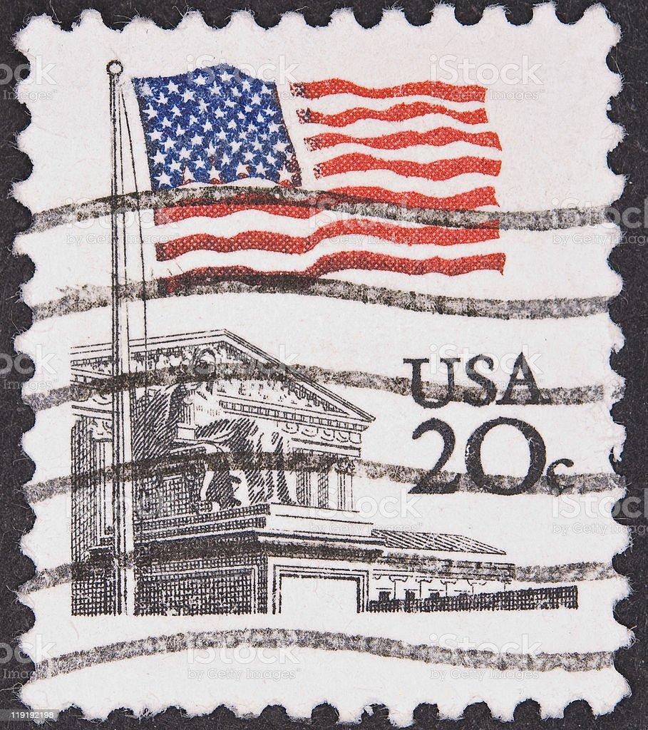 US Stamp Flag stock photo