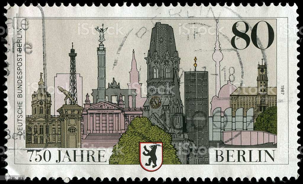 Stamp from Germany with drawing of Berlin vector art illustration