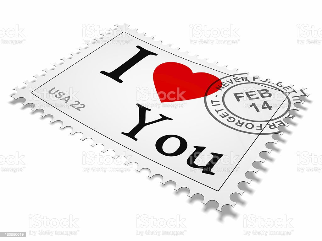 Stamp I love you 3 stock photo