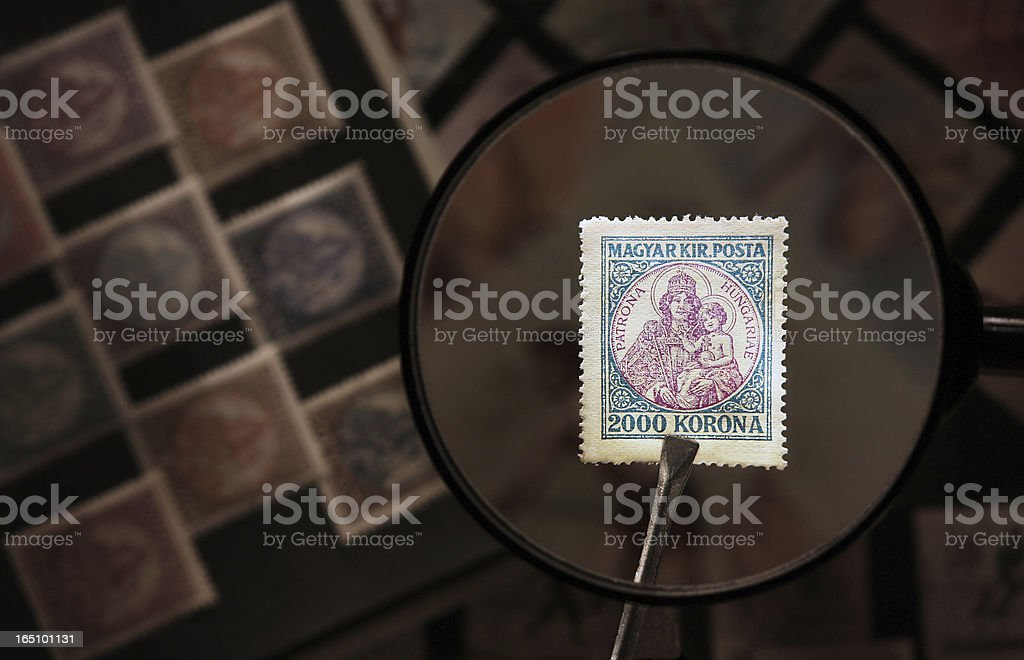 Stamp in glass stock photo