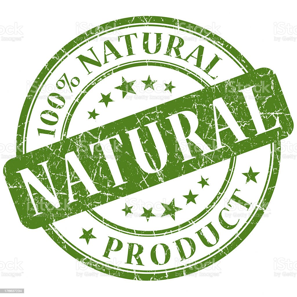 Stamp indicating 100% natural product on white background stock photo