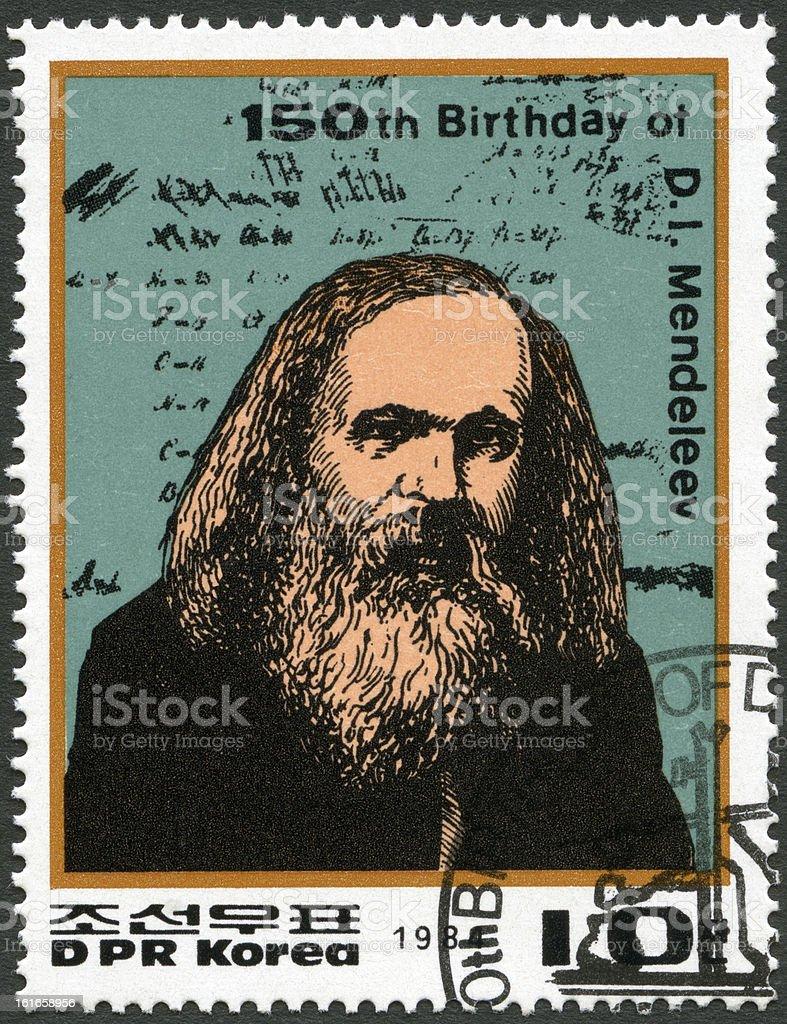 Stamp North Korea 1984 Dmitri Ivanovich Mendeleev (1834-1907) stock photo