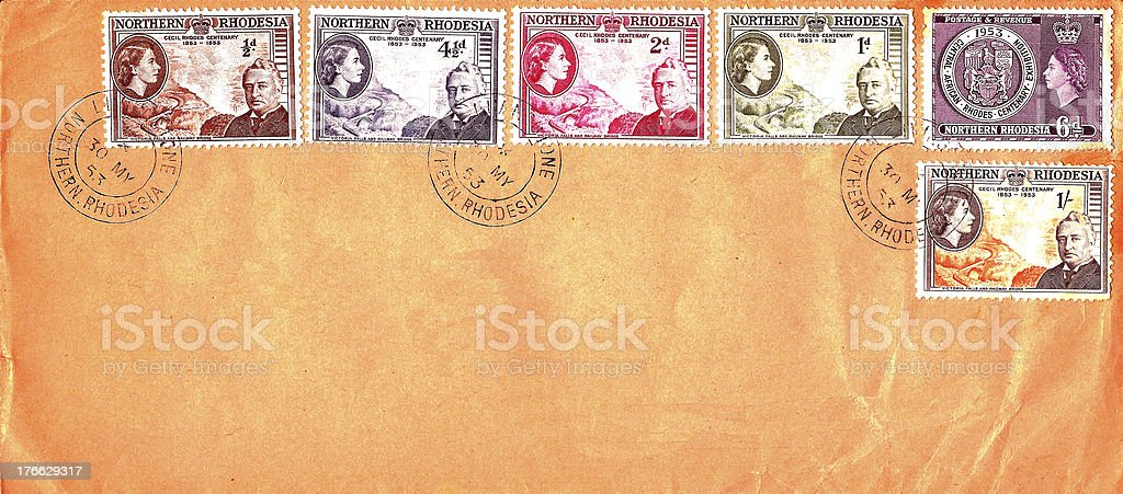 Stamp Northern Rhodesia Cecil Rhodes 1953 royalty-free stock photo
