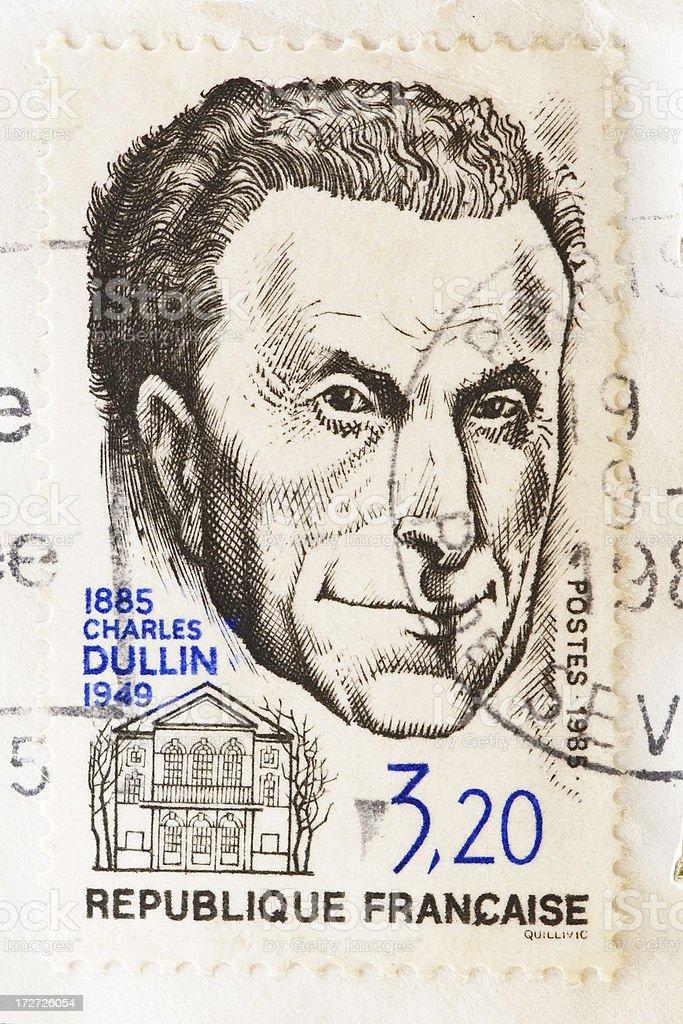 Stamp of Charles Dullin stock photo