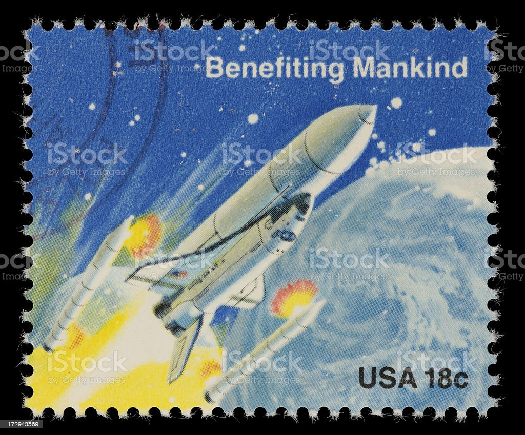 US stamp of Space shuttle ejecting solid rocket boosters stock photo