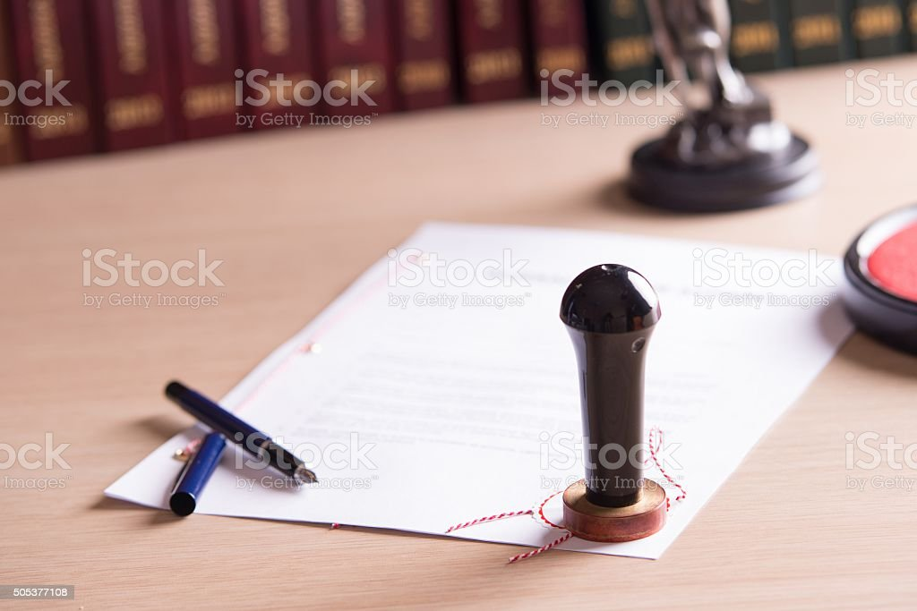 Stamp of the notary on testament and last will stock photo