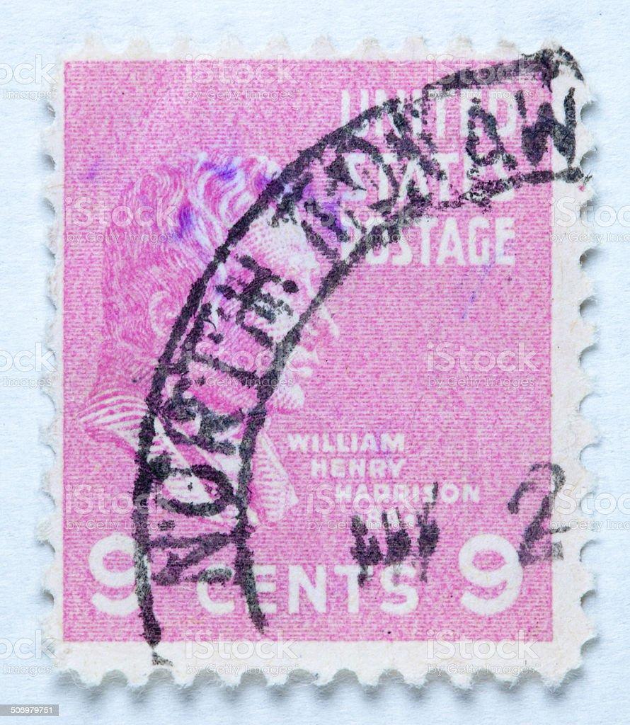 Stamp President William Henry Harrison. United States - circa 19 stock photo