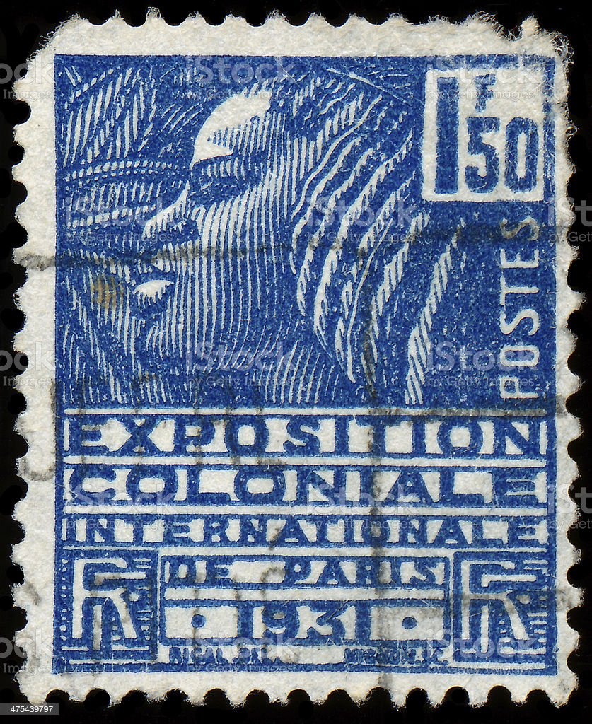 Stamp printed in France shows Woman of the Fachi trib royalty-free stock photo