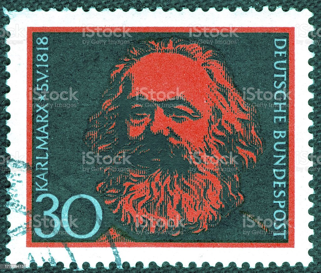 Stamp printed in Germany  of Karl Marx , royalty-free stock photo