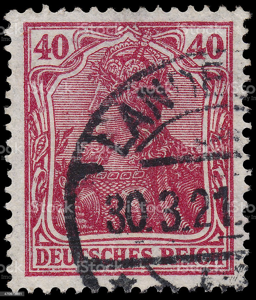 Stamp printed in Germany shows Germania royalty-free stock photo